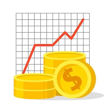 Ícone de moedas de ouro. cifrão renda do investimento. desempenho financeiro. relatório estatístico. produtividade do negócio. gráfico de produtividade.