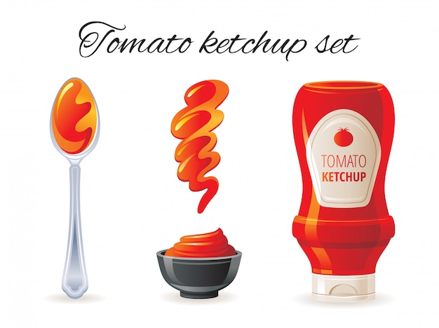 Ícone de molho de tomate ketchup conjunto com garrafa de molho picante, tigela, colher, respingo.