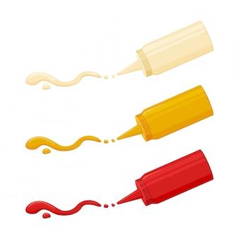 Ícone de molho, maionese, mostarda e ketchup. molho de especiarias quentes embalado em garrafa de plástico.