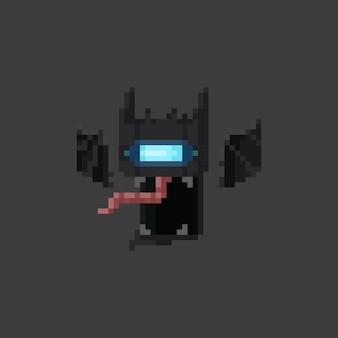 Ícone de morcego cibernético de desenho animado de pixel art