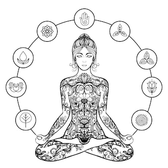 Ícone de mulher negra de ioga de lótus decorativos