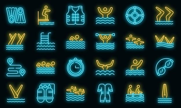 Ícone de natação sincronizada. contorno do ícone do vetor de nado sincronizado cor néon no preto