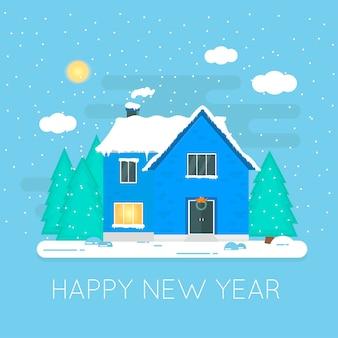 Ícone de natal abstrato com casa de inverno. ilustração de férias perfeitas com aconchegante casa de neve, casa de campo. modelo para cartões, banner. vetor
