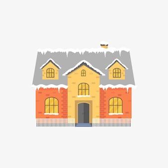 Ícone de natal abstrato com casa de inverno. ilustração de férias perfeitas com casa aconchegante, casa de campo. modelo de decoração, cartões, convites. bandeira. vetor