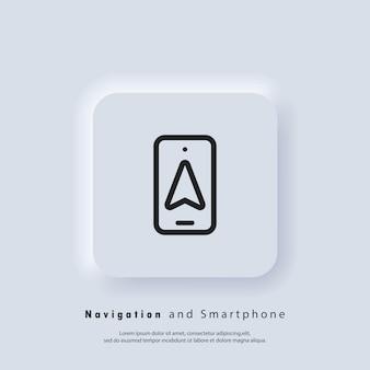 Ícone de navegação e smartphone. mapeie a navegação gps, aplicativo de mapa do smartphone e localize na tela. vetor eps 10. ícone de interface do usuário. botão da web da interface de usuário branco neumorphic ui ux. neumorfismo
