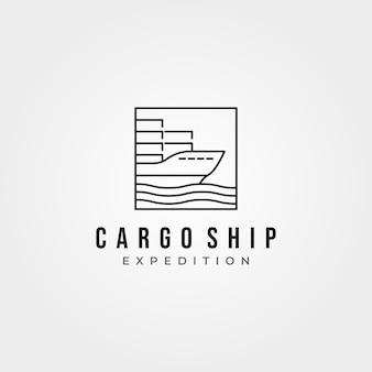 Ícone de navio de carga minimalista logotipo vetor linha arte ilustração design