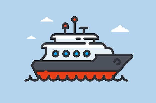 Ícone de navio nas ondas. iate privado no mar