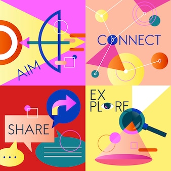Ícone de negócios vetor definido colorido