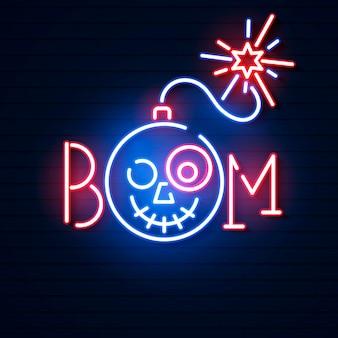 Ícone de néon azul brilhante bomba