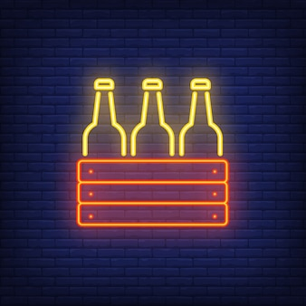 Ícone de néon da caixa com garrafas