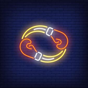 Ícone de néon da competição de boxe