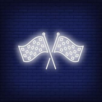 Ícone de néon de bandeiras de corrida