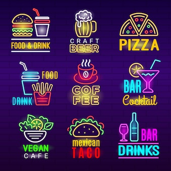 Ícone de néon de comida. cerveja bebidas emblema publicidade luz conjunto de produtos artesanais de pizza.