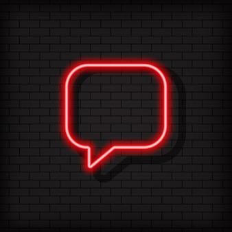 Ícone de néon de diálogo. sinal de comentário. usuário de mídia social. vetor em fundo preto isolado. eps 10.
