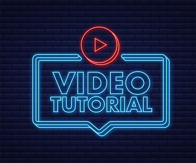 Ícone de néon de tutoriais em vídeo estudo e aprendizado de educação a distância