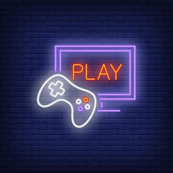 Ícone de néon de videogame on-line