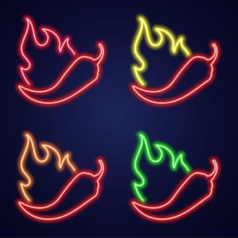 Ícone de néon definir pimenta com fogo. tabuleta com pimenta ardente. ilustração do vetor de níveis de especiaria. Vetor Premium