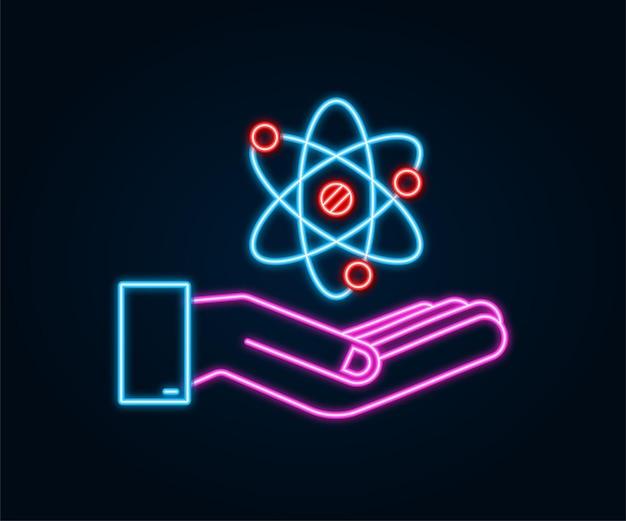 Ícone de néon do átomo sobre o vetor de mãos, símbolos de átomo em fundo branco.