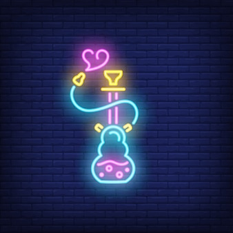 Ícone de néon do cachimbo de água com fumaça em forma de coração