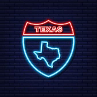 Ícone de néon do contorno do mapa do estado do texas. ilustração vetorial.