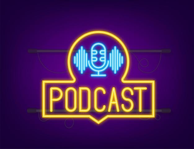 Ícone de néon do podcast. crachá, ícone, carimbo, logotipo. ícone de néon. ilustração de estoque vetorial