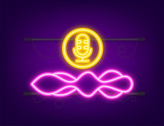 Ícone de néon do podcast. crachá, ícone, carimbo, logotipo. ilustração de estoque vetorial
