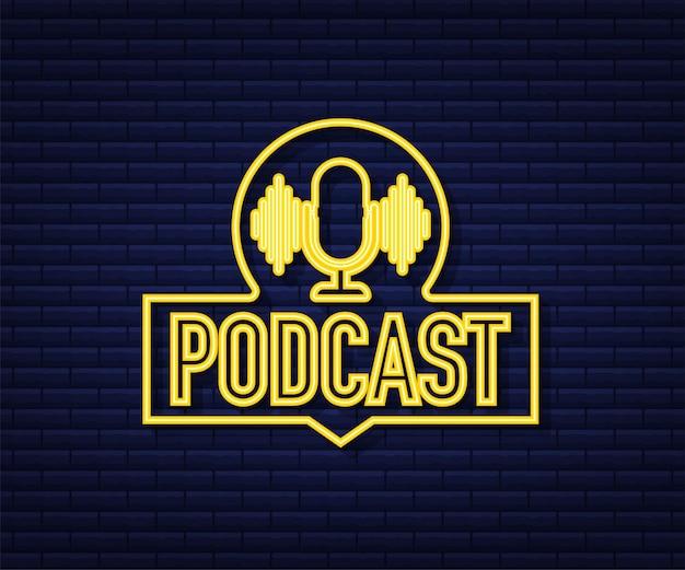 Ícone de néon do podcast. crachá, ícone, carimbo, logotipo. ilustração em vetor das ações.