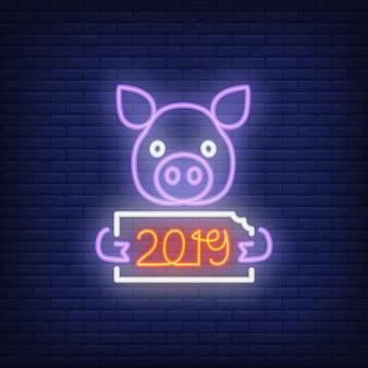 Ícone de néon do porco festivo ano novo