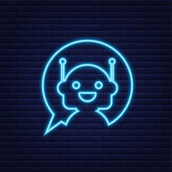 Ícone de néon do robô projeto do sinal do bot conceito do símbolo do chatbot. bot de serviço de suporte de voz