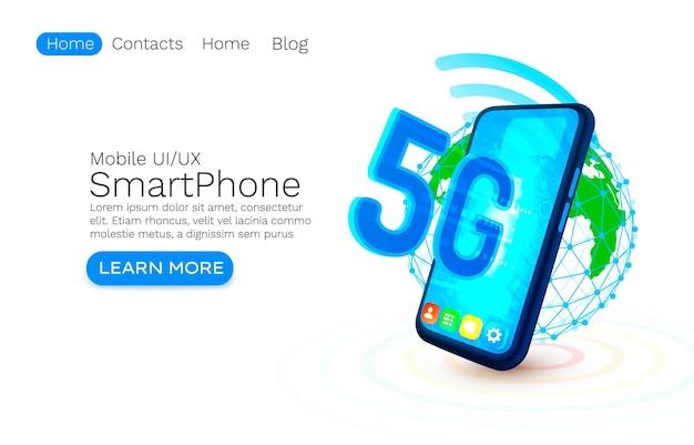 Ícone de néon do telefone de tela g rede moderno fundo azul vetor de serviço móvel