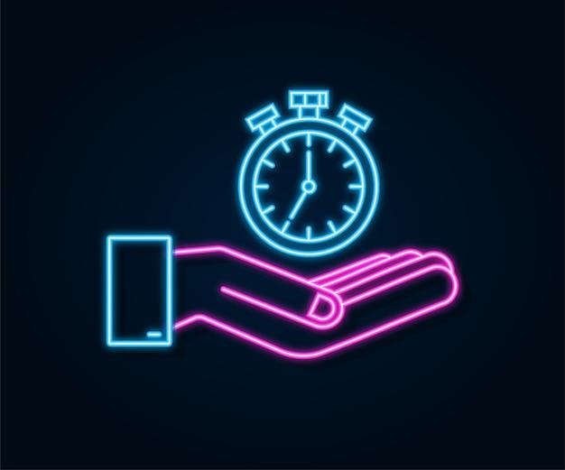 Ícone de néon do temporizador em mãos, em fundo escuro ícone plano com temporizador. conceito de negócio