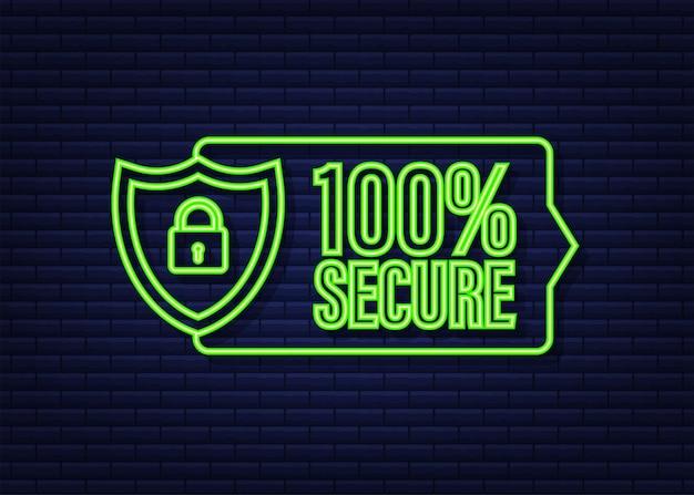 Ícone de néon do vetor 100 seguro grunge. emblema ou botão para site de comércio. ilustração em vetor das ações.