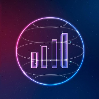 Ícone de néon do vetor de tecnologia de comunicação de sinal wifi com gráfico de barras
