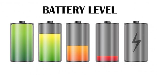 Ícone de nível de energia na bateria do smartphone.