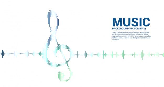 Ícone de nota chave sol onda sonora fundo do equalizador de música. plano de fundo para concertos de eventos e festival de música