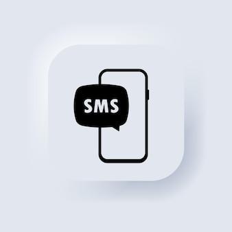 Ícone de notificação de e-mail não lido. nova mensagem na tela do smartphone. botão da web da interface de usuário branco neumorphic ui ux. neumorfismo. vetor eps 10.