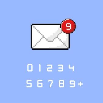 Ícone de notificação de mensagem com estilo pixel art