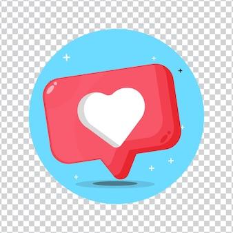 Ícone de notificação de mídia social em forma de coração em fundo em branco