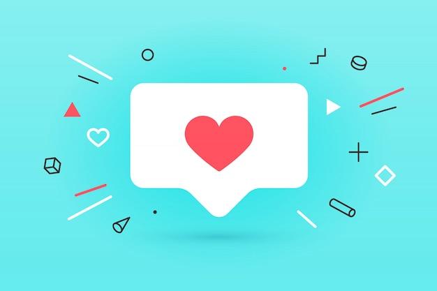 Ícone de notificações como bolha do discurso. como ícone com coração, um como e sombra para rede social em fundo vermelho. conceito de bolha, cartaz e etiqueta do discurso para, web. ilustração