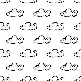 Ícone de nuvem padrão sem emenda de moda linda mão desenhada. esboço preto desenhado de mão. sinal / símbolo / doodle. isolado em um fundo branco. design plano. ilustração vetorial.