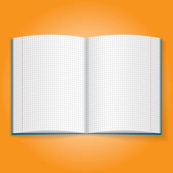 Ícone de objeto realista. ilustração de caderno de exercícios escolar