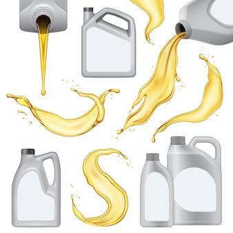 Ícone de óleo de motor realista isolado conjunto com garrafa de plástico branca com líquido amarelo