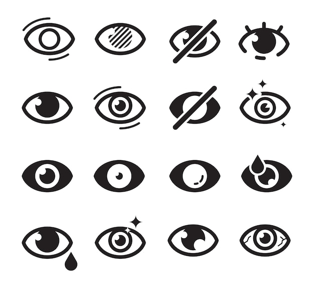 Ícone de olhos. símbolos de cuidados ópticos visão visão catarata cega fotos de medicamentos bonitos