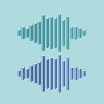 Ícone de onda plana isométrica de música feito de linhas de pico