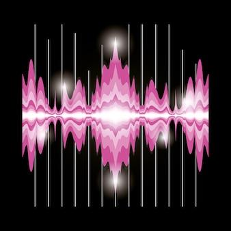 Ícone de onda sonora-de-rosa sobre design colorido de fundo preto