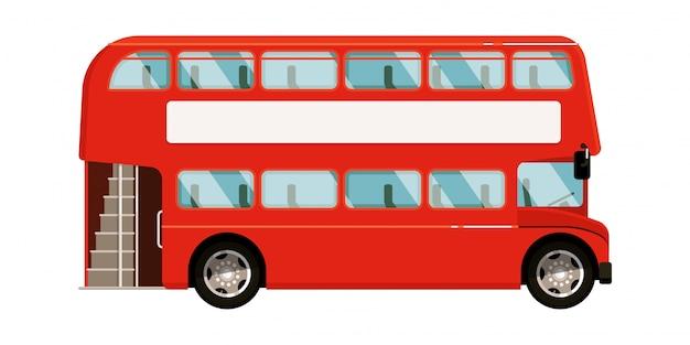 Ícone de ônibus de dois andares vermelho sobre fundo branco