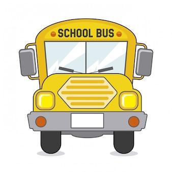 Ícone de ônibus escolar sobre ilustração vetorial de fundo bege