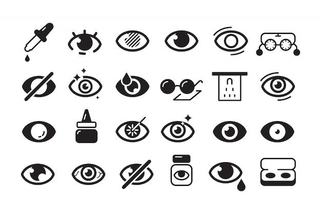 Ícone de optometria. símbolos de oftalmologia olho médico lente ótica coleção linha