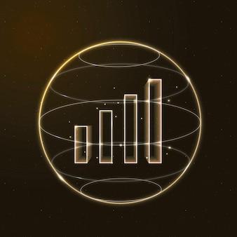 Ícone de ouro do vetor de tecnologia de comunicação de sinal de wi-fi com gráfico de barras