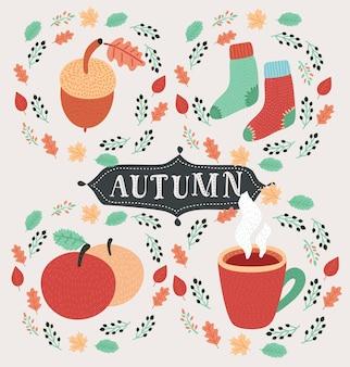 Ícone de outono e objetos definidos para design